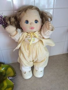 "Vintage Mattel 14"" MY CHILD DOLL Strawberry Blond Hair Blue Eyes Original Outfit #Doll"