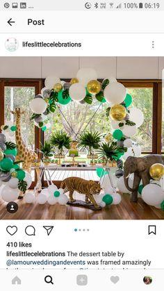 Jungle Theme Parties, Jungle Theme Birthday, Baby Birthday, Birthday Ideas, Baby Shower Decorations For Boys, Baby Shower Themes, Birthday Decorations, Shower Ideas, Jungle Theme Baby Shower