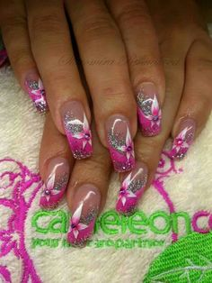 Hot Pink French Manicure Nailart Ideas For 2019 Nail Tip Designs, French Nail Designs, Pretty Nail Designs, Acrylic Nail Designs, French Nails, Pink French Manicure, Pink Nail Art, Glitter Nail Art, Hot Nails