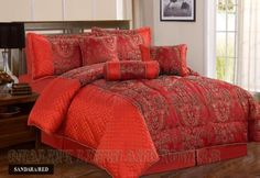 Sandara Red Double Quilted 7 Pieces Bedspread Modern Damask Jacquard Luxury Comforter Complete Bedding Set Includes Comforter, Bedspread, Valance Sheet, Sham Pillow Cases, Cushions & Neck Roll by Quality Linen and Towels by Quality Linen and Towels, http://www.amazon.co.uk/dp/B00C2B657W/ref=cm_sw_r_pi_dp_9i.qsb0ER3DXD