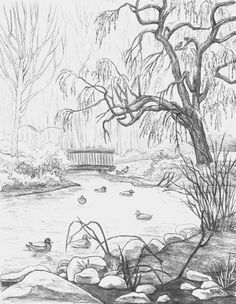 pencil landscape drawings - Google Search