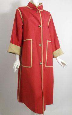 Bonnie Cashin Red and Tan Canvas Spring Coat circa 1960s