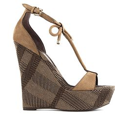NEW IN BURBERRY Check canvas wedge sandals