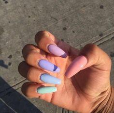nails rainbow \ nails rainbow + nails rainbow pastel + nails rainbow acrylic + nails rainbow tips + nails rainbow ombre + nails rainbow glitter + nails rainbow french + nails rainbow design Summer Acrylic Nails, Best Acrylic Nails, Cute Acrylic Nails, Cute Nails, Pretty Nails, Cute Acrylic Nail Designs, Fingernail Designs, Gel Nail Designs, Acrylic Art