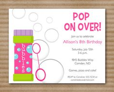 83 best bubble birthday party images on pinterest bubble birthday bubbles birthday invitation bubbles party printable pdf file printed invitations also available filmwisefo