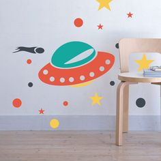 Full Color Wall Decal Mural Sticker Decor Art Bedroom Rocket Space Cosmos UFO Space Ship star sky Set Nursery Kids Children