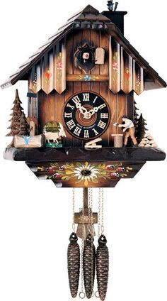 """River City Clocks One Day Musical 11"""" German Cuckoo Clock with Man Chopping Wood and Chimney Sweep"""