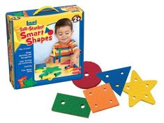Lauri Toys Smart Shapes and Stacking Pegs by Patch Products. $12.58. From the Manufacturer                What do you get with basic geomentric shapes made of Lauri crepe rubber and 21 tall-stacker Pegs?  You get toy that entertains preschoolers for hours in convenient travel case for kids on the go.  They'll fill all the holes, sort the pegs by color, and see how high the pegs will stack.  With to holes per shape, it's also counting toy that lays good foundation for early m...