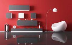 Decorar salón en rojo, negro y gris - Moderno