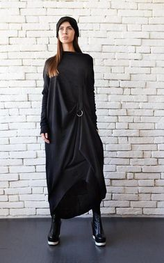 be0aa27684d Extravagant Black Long Sleeve Dress Plus Size Maxi Dress Black Maxi  Dress Front Effect Long Tunic Oversize Casual Top Loose Black Tunic