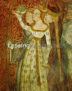 """Margarete Maultasch (""""satchel-mouth""""), countess and ruler of Tyrol (1318-1369) shown during the ballgame in the garden. Mural in the knights' hall of Runkel- stein castle."""