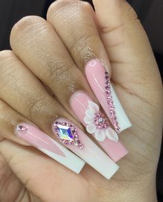 Acrylic Nails Coffin Pink, Long Square Acrylic Nails, Summer Acrylic Nails, Coffin Nails, Edgy Nails, Bling Nails, Drip Nails, Acylic Nails, Nails Design With Rhinestones