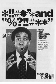 The Richard Pryor Show, 1977. Pryor only filmed four episodes of the show. A skit in which Pryor appeared as a machine gun-toting rocker who kills all of his white fans caused a stir. The second episode also featured a skit that showed a woman in a park describing what her first lesbian experience was like.