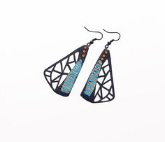 Earrings, modern, contemporary jewelry design, FREE Shipping, unique, original, handmade, polymer clay, lasercut wood, black hooks