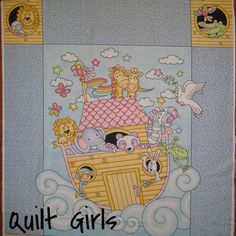 Noah's Ark Yellow Boat Quilt Fabric Panel to sew
