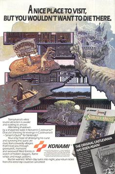 An ad for Castlevania II: Simon's Quest on the NES.