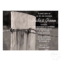 Rural Fence Post Country Rustic Wedding Invitation