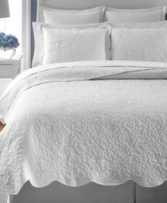 Martha Stewart Collection Whisper Leaves White Full/Queen Quilt (Only at Macy's)