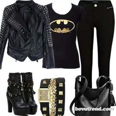 Bat man outfit. Except converse instead of those crazy heels, no bracelets, and without the bag.