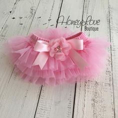 Light Pink tutu skirt bloomers diaper cover embellished rhinestone pearl flower, ruffles all around, newborn infant toddler little baby girl by HoneyLove Boutique