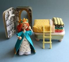 Wee Princess Pea on Etsy- PDF pattern for a purse-sized fairy by mmmcrafts PDF pattern will show you how to craft a tiny poseable princess doll with a lofty bed and her own fancy closet, all scaled to fit inside two recycled Altoids tins Sewing Terms, Craft Stash, Altoids Tins, Little Doll, Tin Toys, Paper Decorations, Wooden Beads, Wool Felt, Fairy Tales