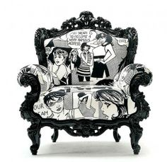 I love this funky vintage style chair with a pop of Roy Lichtenstein type comic-book print fabric.