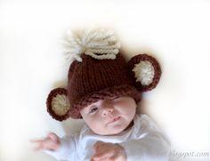 Monkey baby beanie hat in brown cream size 1 by daisiescrochet, $25.00