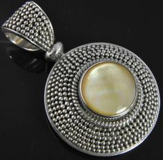 Balinese Sterling Silver Yellow Mother of Pearl Granulated Bead Slide Pendant