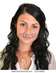 stock photo : Beautiful young woman with black, long hair isolated on white