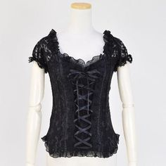 h. Naoto FRILL レースアップカットソー - Lace-up cutsew - goth, gothic lolita