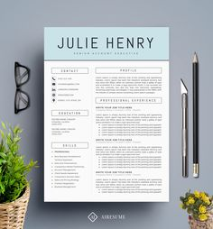 Modern Resume Template / CV Template + Cover Letter | Creative Resume Design | Teacher Resume | MS Word Resume | Instant Download by A1RESUME on Etsy https://www.etsy.com/listing/245240137/modern-resume-template-cv-template-cover