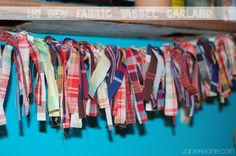 How to make a Fabric Tassel Garland with left over fabric. This would be great to wrap around a tree!