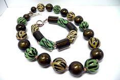 Vintage ZaHaRa Chunky Bead Necklace and Bracelet  Yellow &