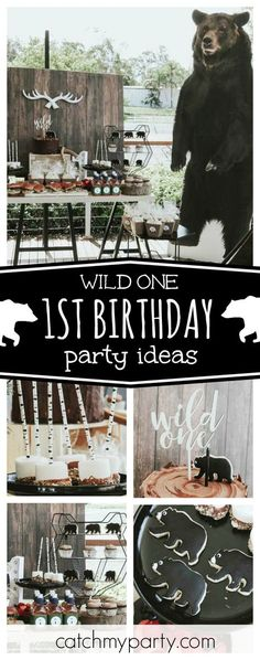 Check out this awesome Wild One 1st birthday party! The bear cookies are so cool!! See more party ideas and share yours at CatchMyParty.com