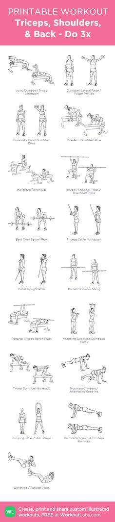 Triceps, Shoulders, & Back - Do 3x:my visual workout created at WorkoutLabs.com • Click through to customize and download as a FREE PDF! #customworkout