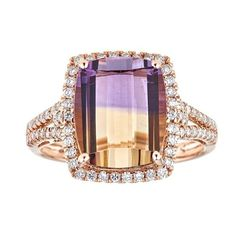 Perfect for your jewelry collection, the ring showcases an ornate design. The 14k rose gold is shining and showcases splendid ametrine gemstones.