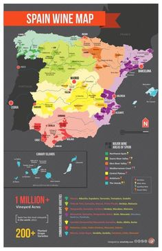 Spanish Wine Map. 1 million acres. Largest amount of vineyards in the world.