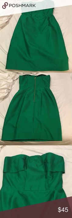 Strapless kate spade Dress Strapless kate spade green dress. Size 12. Some fraying/loose threads, but this partly due to the nature of the fabric. Also is missing front ribbon to hang it on a hanger. Overall beautiful look perfect for any formal or cocktail occasion. Worn once for sorority recruitment. Has back slit and rubber lining to help keep it up. kate spade Dresses Strapless