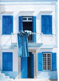 Color inspiration for shutters - Greece - reminds me of the Greek flag!