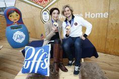 Olympic Ice Dancing Gold Medalists and Puffs ambassadors, Meryl Davis & Charlie White spend time at the P&G Family Home during the Sochi 2014 Olympic Winter  Games. 2014 Getty Images