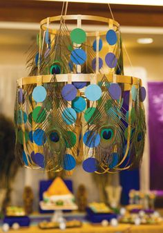 DIY chandelier. Jewel of the Nile Egyptian Spa Party by Banner Events as seen on HWTM