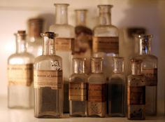 We stock a very similar collection of bottles in the shop with vintage apothecary labels