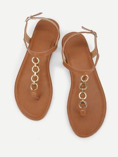 SheIn offers Chain Decorated Sandals & more to fit your fashionable needs. Coral Sandals, Shoes Flats Sandals, Sandals Outfit, Fashion Sandals, T Strap Sandals, Trendy Sandals, Cute Sandals, Cute Shoes, Spring Shoes