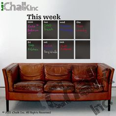 This Week Calendar Planner Chalkboard Sticker Wall by iChalkInc