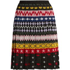 Mary Katrantzou Mandy motif-jacquard pleated skirt ($426) ❤ liked on Polyvore featuring skirts, multi, jersey skirt, knee length pleated skirt, jacquard skirt, knife-pleated skirts and multi color skirt
