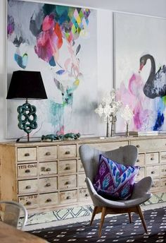 Grant Featherston chair with swan painting