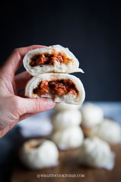 Soft Fluffy Char Siu Bao (Chinese Steamed BBQ Pork Buns)- Juicy and sweet Chinese bbq pork (char siu) is wrapped in soft and pillowy Chinese steamed buns. Bbq Pork Buns Recipe, Steam Buns Recipe, Steamed Pork Buns, Pork Recipes, Chicken Recipes, Cooking Recipes, Chinese Bbq Pork Bun Recipe, Chinese Pork, Cooking Chinese Food