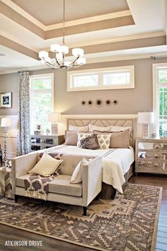 Beautiful Master Bedroom. Love the colors and decor.