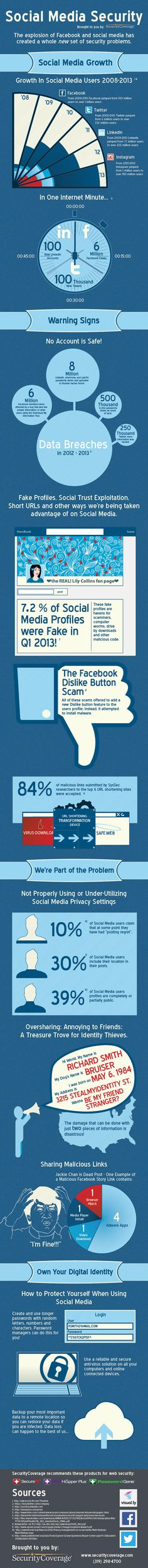 Facebook, Twitter, LinkedIn, Instagram – Social Media Security Tips [INFOGRAPHIC]
