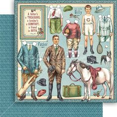 PREORDER - Graphic 45 - Penny's Paper Doll - 12 x 12 Scrapbook Paper - Fathers and Sons